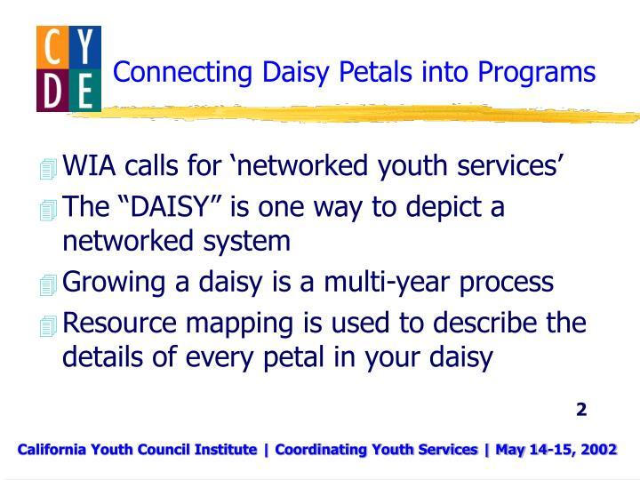 Connecting daisy petals into programs