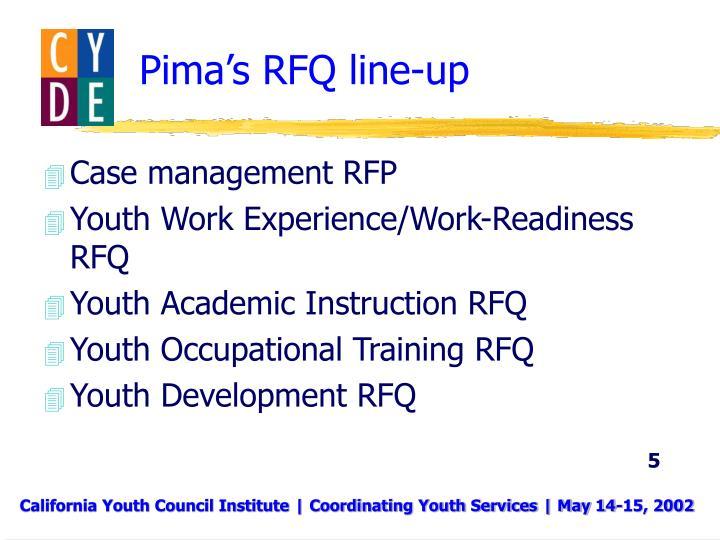 Pima's RFQ line-up