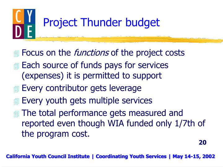 Project Thunder budget