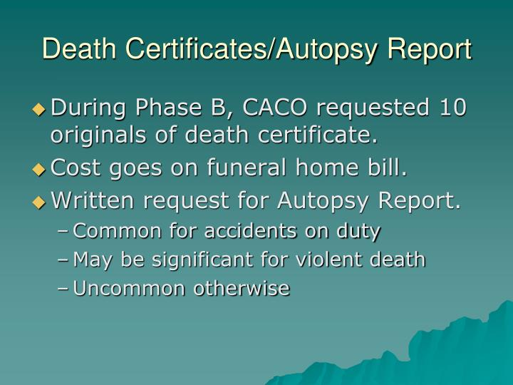 Death Certificates/Autopsy Report