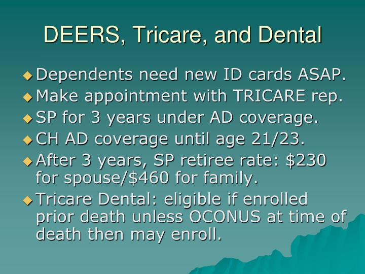 DEERS, Tricare, and Dental
