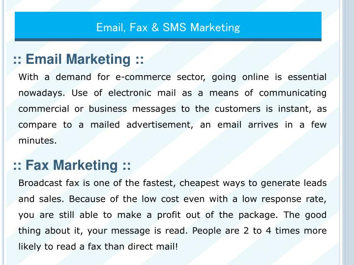 Email, Fax & SMS Marketing