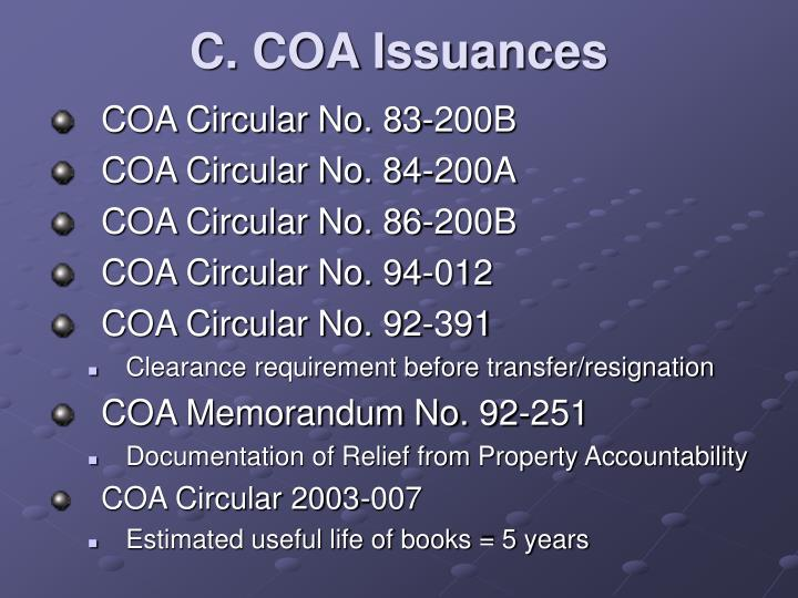C. COA Issuances