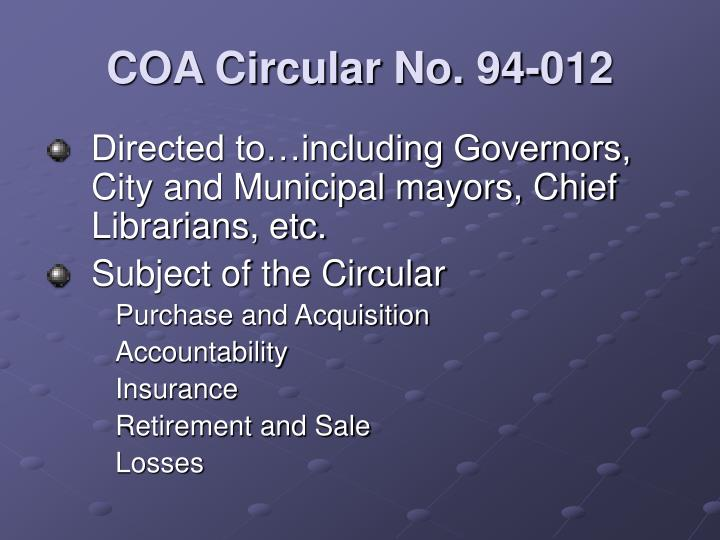 COA Circular No. 94-012