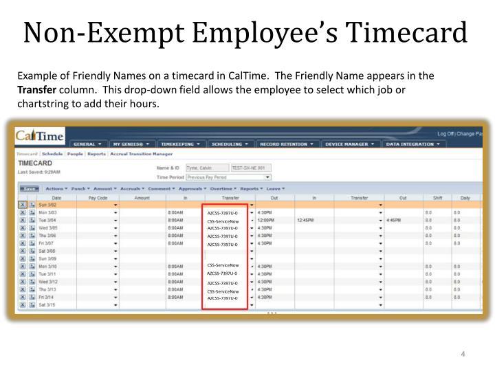 Non-Exempt Employee's Timecard