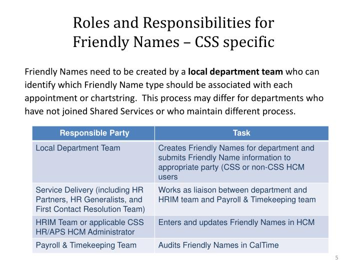Roles and Responsibilities for