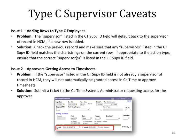 Type C Supervisor Caveats