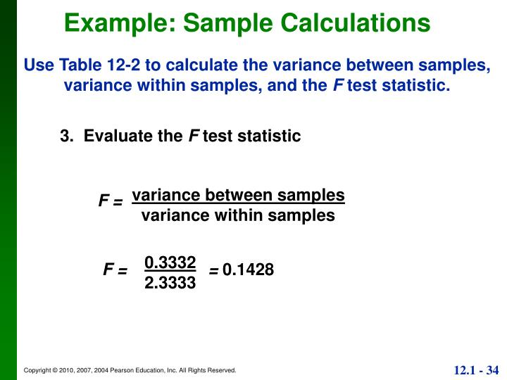 Example: Sample Calculations