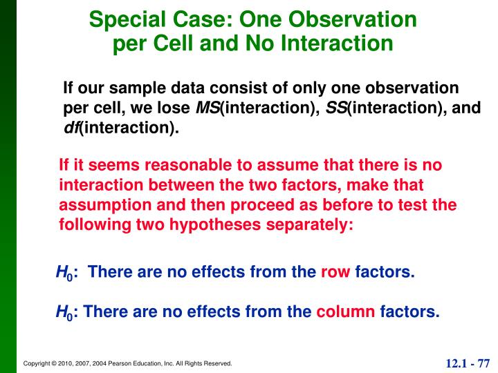 Special Case: One Observation per Cell and No Interaction