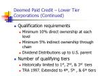 deemed paid credit lower tier corporations continued