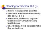 planning for section 163 j