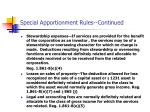 special apportionment rules continued