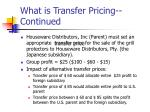 what is transfer pricing continued