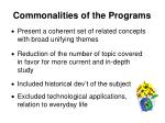 commonalities of the programs