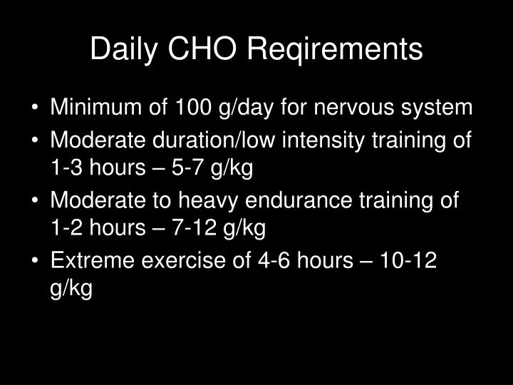 Daily CHO Reqirements