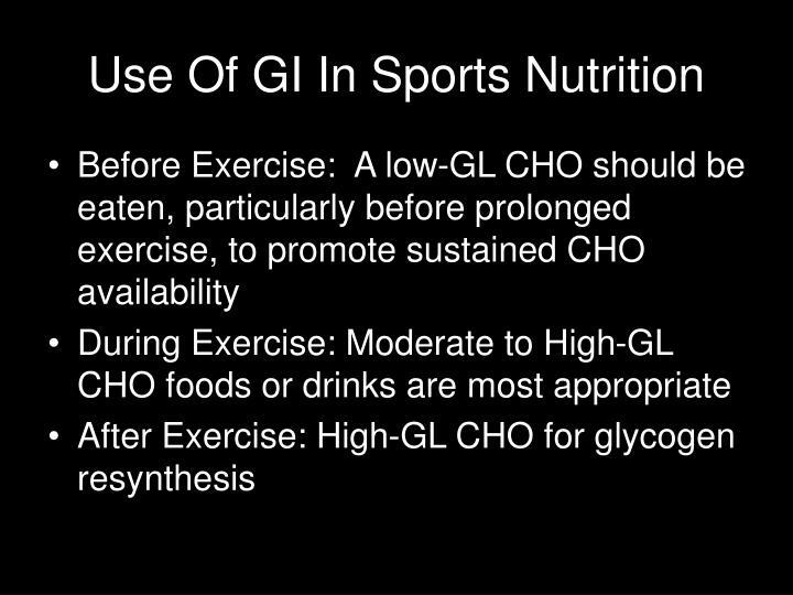 Use Of GI In Sports Nutrition