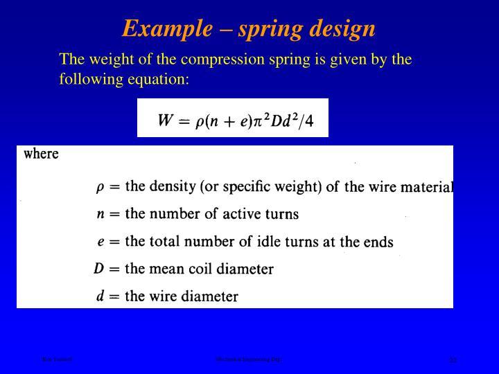 Example – spring design