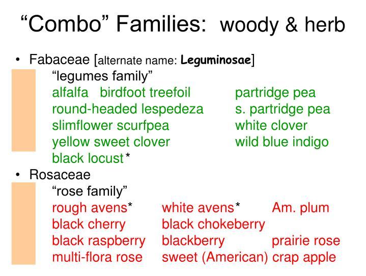 """Combo"" Families:"