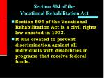 section 504 of the vocational rehabilitation act