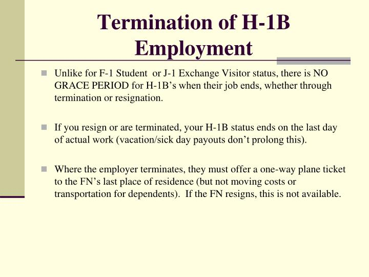 Termination of H-1B Employment