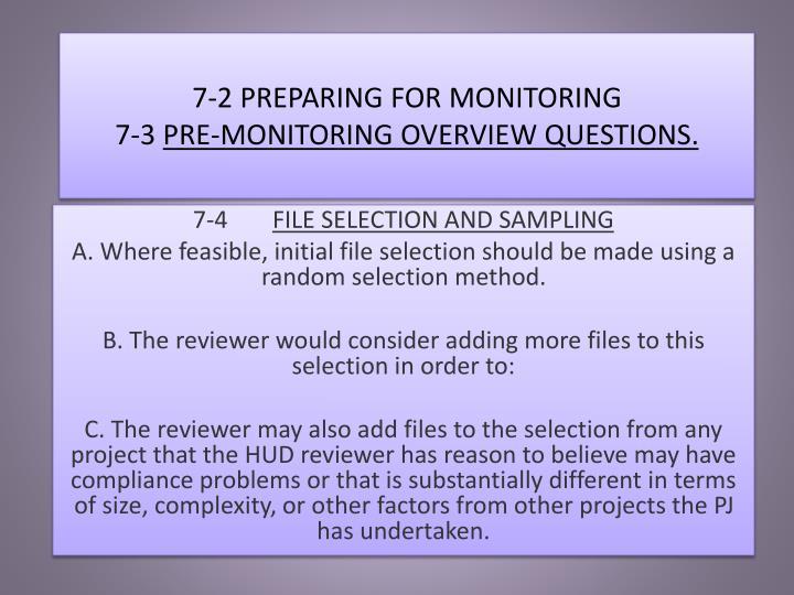 7-2 PREPARING FOR MONITORING