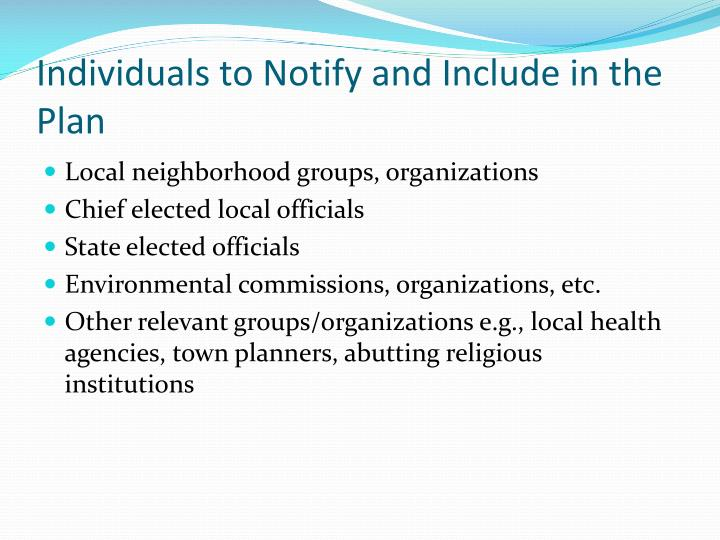 Individuals to Notify and Include in the Plan