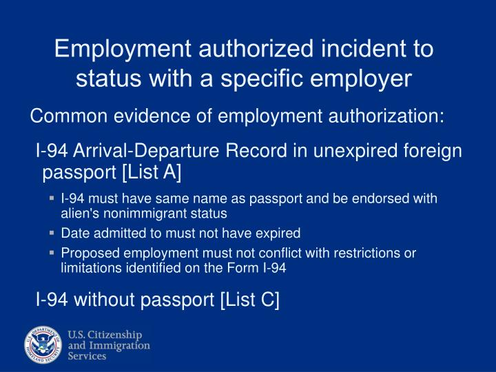 Common evidence of employment authorization: