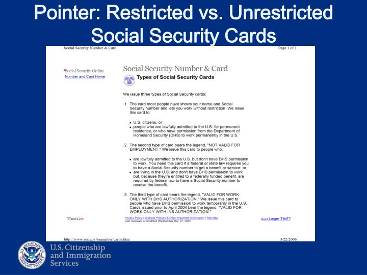 Pointer: Restricted vs. Unrestricted Social Security Cards