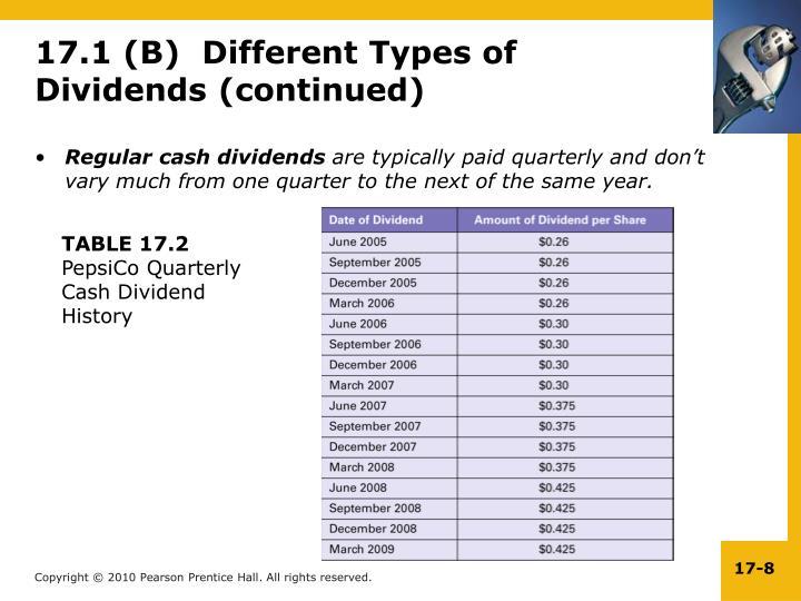 Regular cash dividends