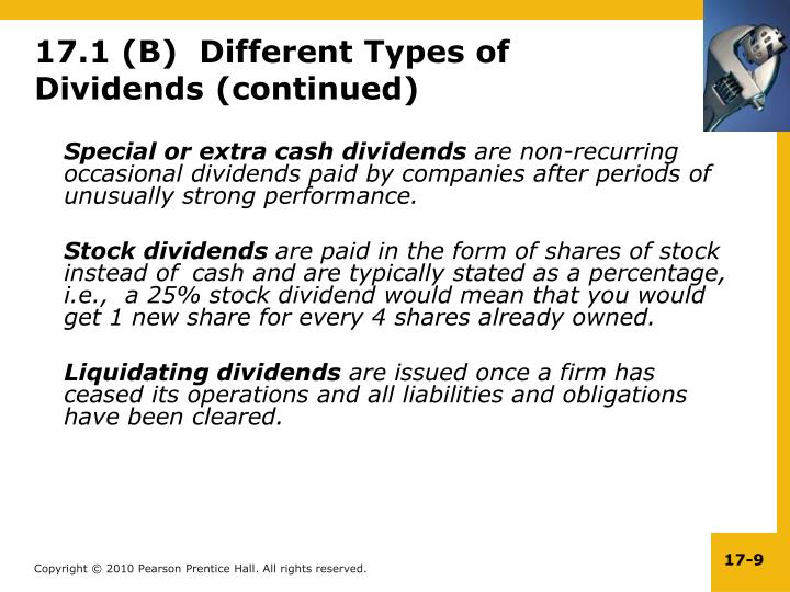 Special or extra cash dividends