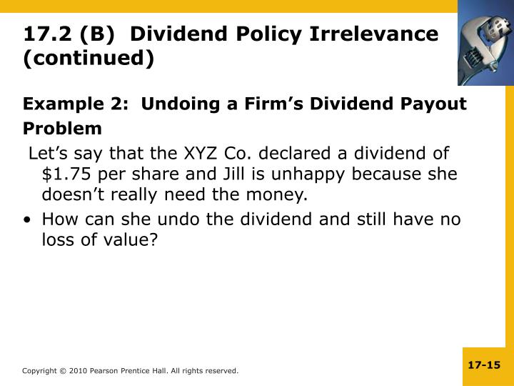 Example 2:  Undoing a Firm's Dividend Payout