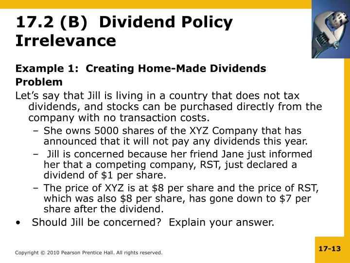 Example 1:  Creating Home-Made Dividends