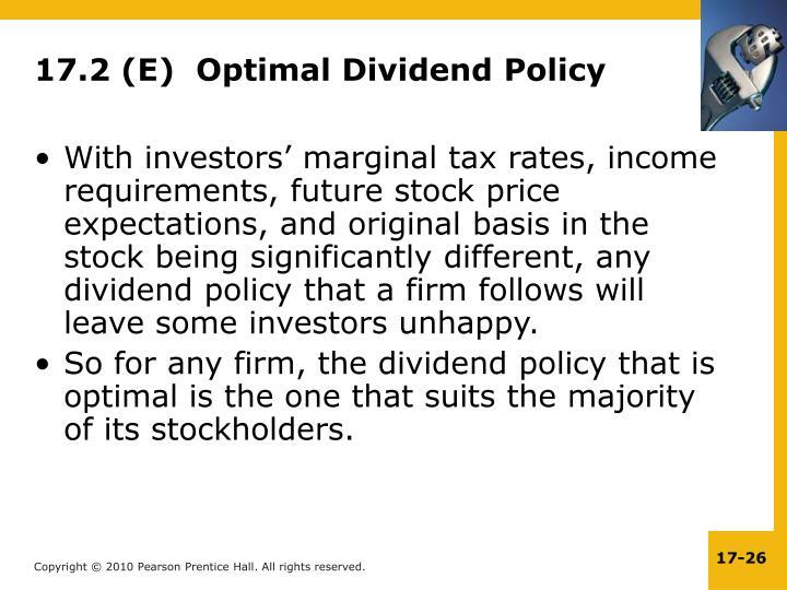 17.2 (E)  Optimal Dividend Policy