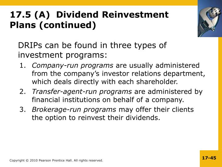 17.5 (A)  Dividend Reinvestment Plans (continued)
