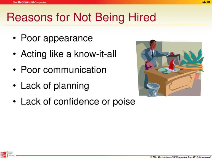 Reasons for Not Being Hired