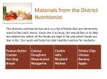 materials from the district nutritionist