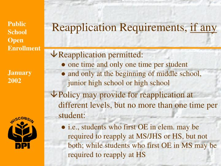 Reapplication Requirements,