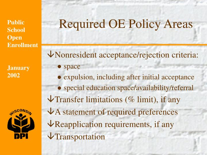 Required OE Policy Areas