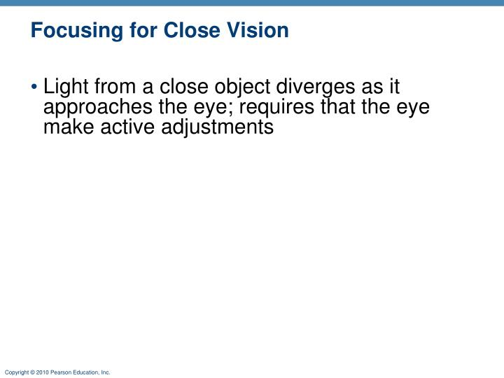 Focusing for Close Vision