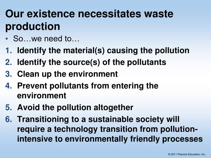 Our existence necessitates waste production
