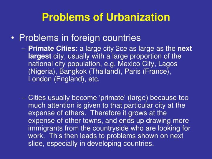 Problems of Urbanization