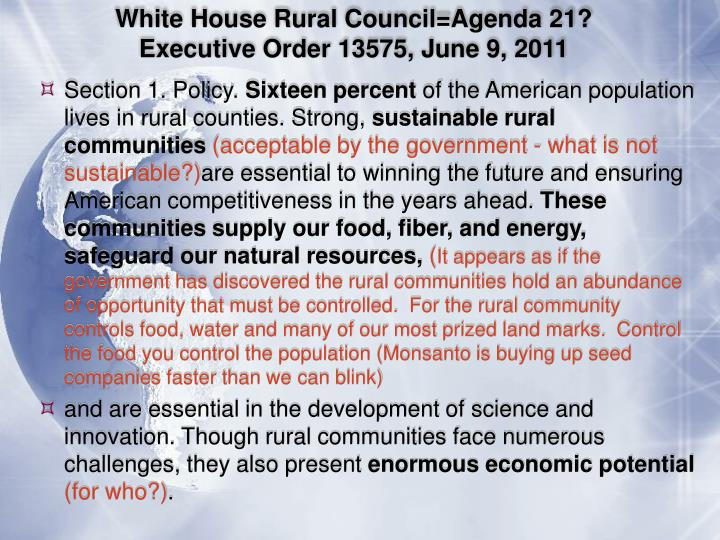 White House Rural Council=Agenda 21?