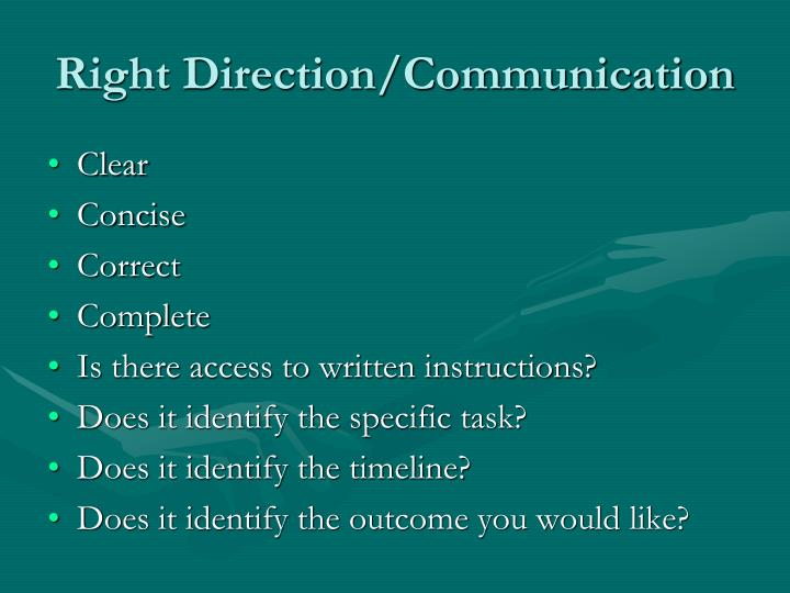 Right Direction/Communication