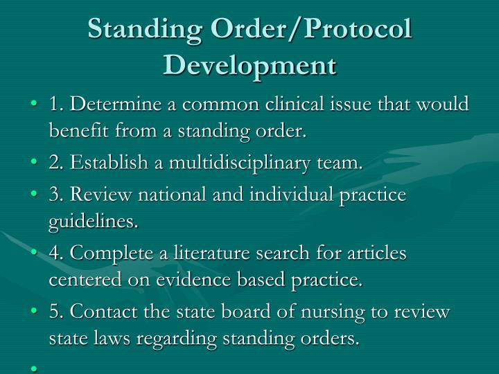 Standing Order/Protocol Development