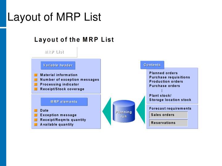 Layout of MRP List