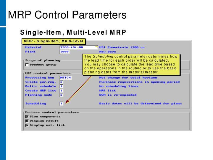 MRP Control Parameters