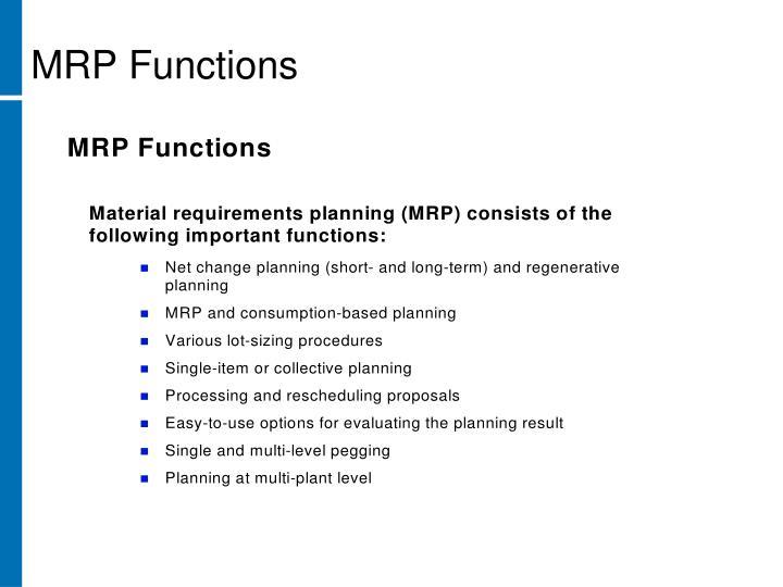 MRP Functions