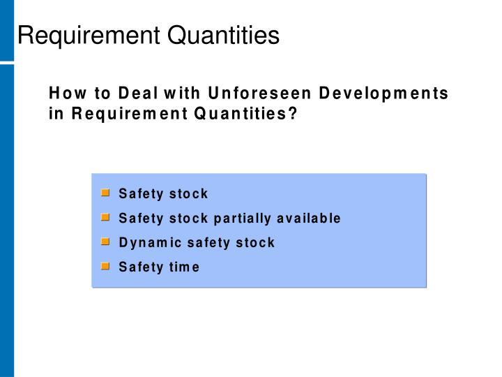 Requirement Quantities