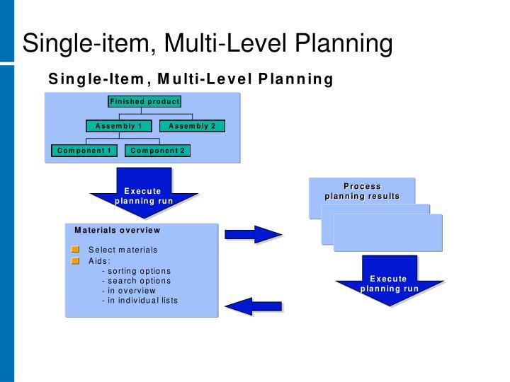 Single-item, Multi-Level Planning