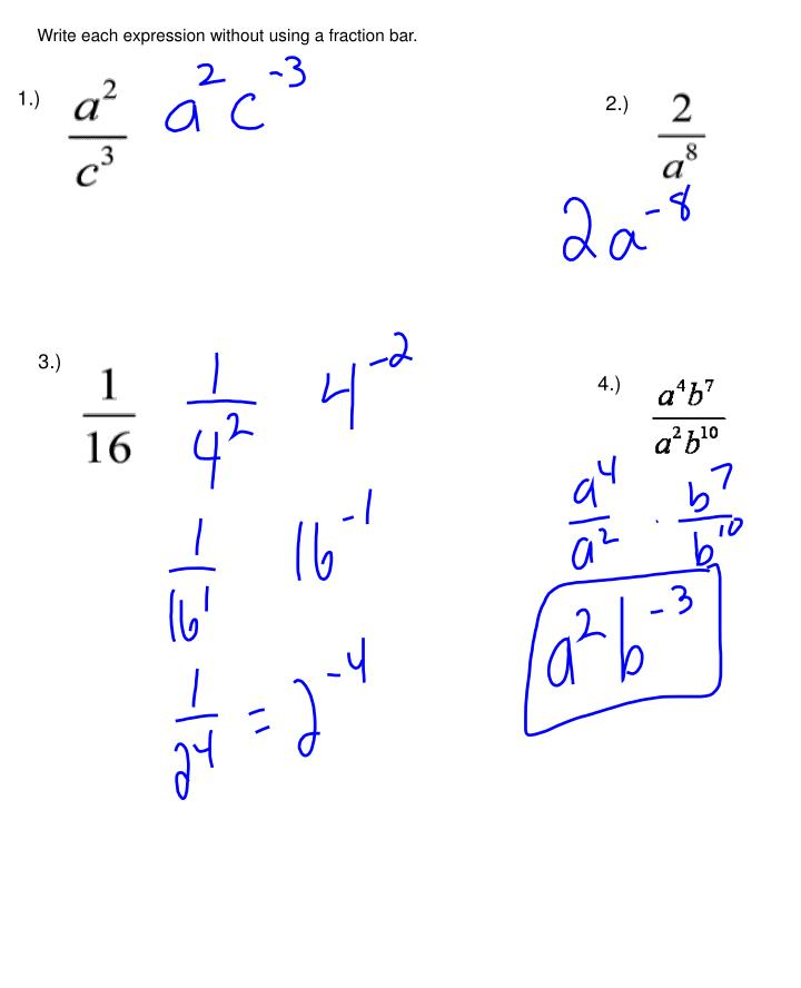 Write each expression without using a fraction bar.